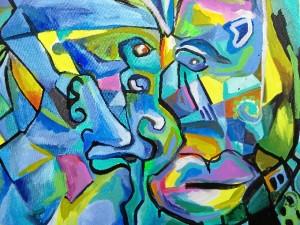 Obra perteneciente a su etapa valenciana, titulada Facetas. 2014.