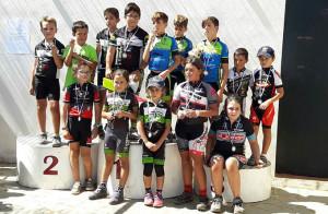 Los más pequeños, en el podio de la prueba celebrada en Paymogo.