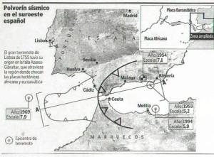 La falla Azores-Gibraltar es donde chocan las placas tectónicas africana y euroasiática.