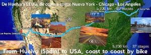 Mapa del recorrido realizado por Quino a lo largo de 38 etapas.
