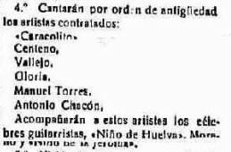 Recorte del prensa, del periódico La Provincia, con los artistas profesionales que actuaron en el concurso de cante de 1923.