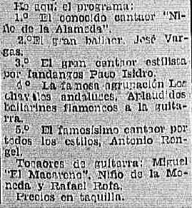 Un programa, también de La Provincia de los años 30 en el que parecen, entre otros, Paco Isidro, Antonio Rengel y el guitarrista Rafael Rofa.