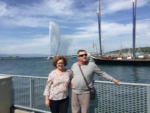 Sus padres en una visita a Suiza.