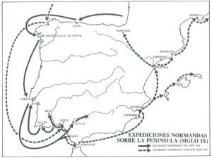 Mapa del recorrido de la primera oleada vikinga a la Península. El paso por Huelva fue obligado al venir desde Lisboa con destino a Sevilla y Córdoba. / Foto: temporamagazine.com