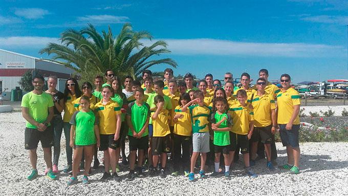 Componentes del Club Piragüismo Tartessos Huelva que han brillado en la III Travesía El Terrón.