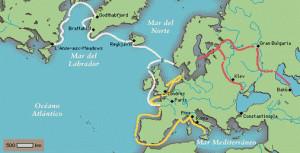 Mapa de las incursiones en lo que ha venido a llamarse la era vikinga. / Foto: proyectosalonhogar