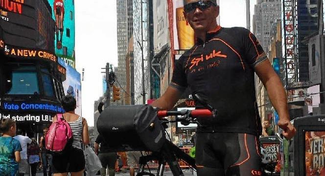 El onubense Quino Sánchez logra la hazaña de cruzar Estados Unidos de costa a costa en bicicleta