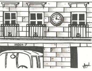 """Recreación del reloj de la Empresa """"Damas"""" (Dibujo de José Ángel Martínez Rodríguez)."""