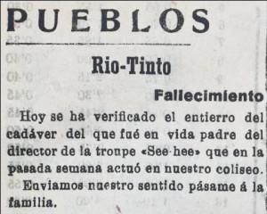 El chino falleció en Riotinto según el diario 'La Provincia'.