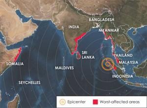 Mapa de localización del tsunami de 2004. / Foto: EARTH Magazine