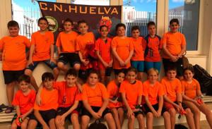 Componentes del CN Huelva que han dejado el pabellón muy alto en el torneo de Loulé.