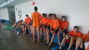 Representantes del Club Natación Huelva en la prueba celebrada en el Andrés Estrada.