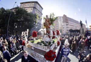 San Sebastián, procesionando por Huelva.