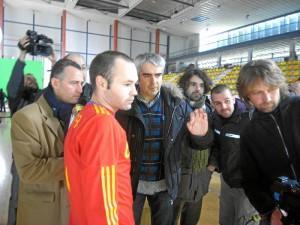 Con Andrés Iniesta, en el rodaje de un spot.
