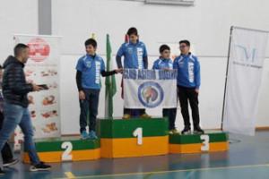 Podio Infantil de Menores, con pleno onubense: Agustín Rodríguez, oro; Roberto Bejarano, plata; Antonio Herrera, bronce; y Manuel Serrano, cuarto.
