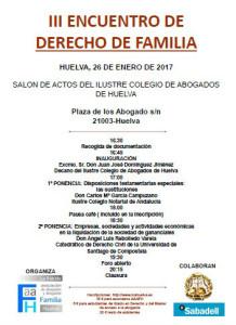Cartel de las terceras jornadas de Derecho de Familia.