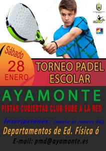 Cartel anunciador del torneo de pádel de este sábado en Ayamonte.