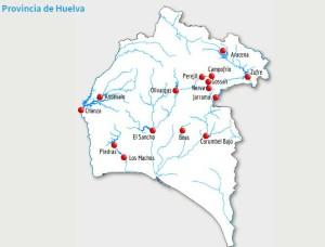 Mapa de la distribución de presas y embalses en la provincia de Huelva.