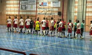 Momentos previos al partido entre el Benalup y el Almonte FS. / Foto: @AlmonteFutsal.