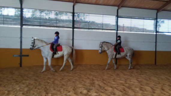 Medio centenar de personas aprende a montar a caballo en la Escuela de Equitación de La Puebla