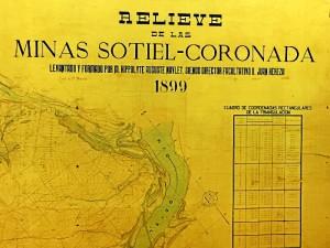 Detalle del primer mapa minero de las minas de Sotiel realizado en Huelva, que se conserva en la sede del Colegio.