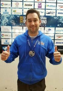 Juan Francisco López, medalla de plata en los 200 mariposa en el Campeonato disputado en Palma de Mallorca.