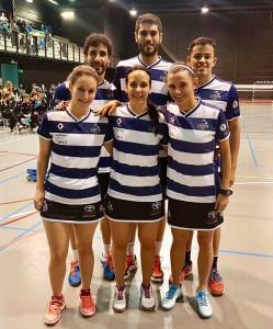 Formación del equipo onubense que logró el sufrido triunfo en Oviedo.