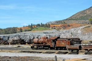 La tradición minera de Huelva posibilita estampas muy llamativas para el visitante.