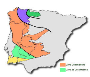 El verde corresponde a la zona de Ossa Morena.