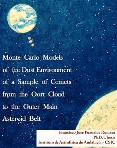 Portada de la tesis doctoral de Francisco J. Pozuelos, donde se ve el cuadro pintado por su madre, en recuerdo al cometa Hale-Bopp.