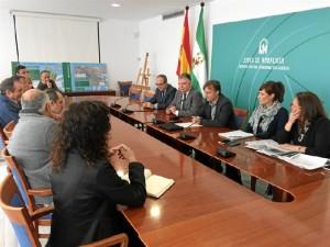 Un momento de la presentanción en Huelva del proyecto de la Estación Depuradora de Aguas Residuales de la Cuenca Minera.