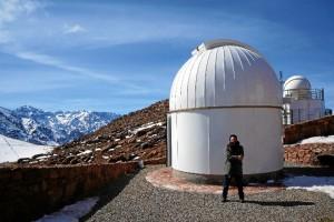 En el observatorio de Oukaïmeden (Monte Atlas). Telescopio TRAPPIST-Nord.