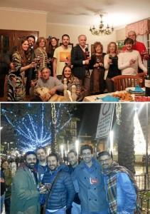 Visita en Navidad a la familia (arriba) y amigos (abajo).