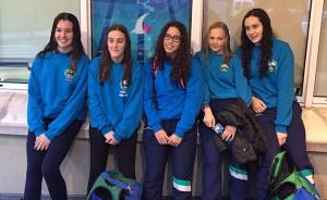 Componentes del equipo infantil femenino del CN Huelva en Gijón.