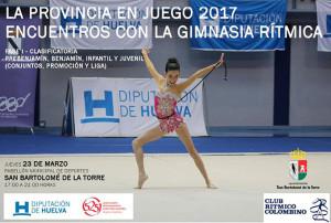 Cartel de la prueba de gimnasia rítmica de este jueves en San Bartolomé de la Torre.