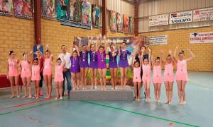 Representantes del GR Onuba en el podio en Bonares.