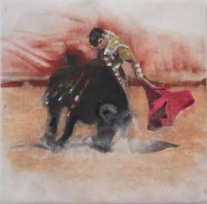 Aunque es escultora, también se siente atraída por la pintura. / En la imagen, una de sus obras.