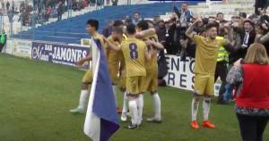 Los jugadores del Recre celebran el gol de Antonio Domínguez que significó a la postre el triunfo albiazul. / Foto: www.recre.org.