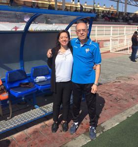 La presidenta Manuela Romero, y el técnico Antonio Toledo, un tándem clave en el Sporting.