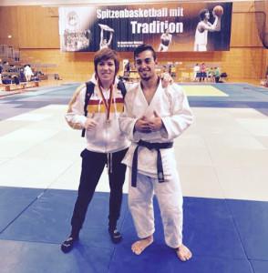 Almudena Gómez y Borja Pahissa, en el torneo de Heidelberg. / Foto: @JudoHuelva1.