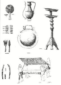 Dibujos de algunos de los elementos hallados en la Tumba 17 en La Joya. / Foto: uma.es