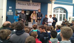 Un momento de la entrega de premios tras la celebración de la prueba.
