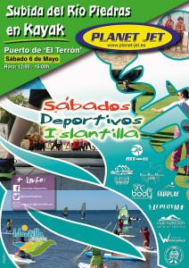 Cartel del próximo Sábado Deportivo de Islantilla, que ofrece una experiencia en kayak.