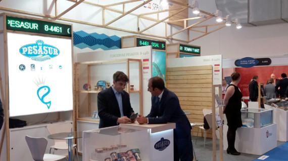 Dos firmas agroalimentarias onubenses participan en la Feria 'Sea Food Expo Global' de Bélgica