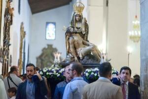 La Virgen de las Angustias en su parroquia.