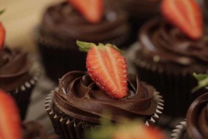 Cupcake de chocolate.