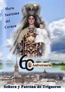 Cartel del 60 aniversario del patronazgo de la Virgen del Carmen en Trigueros.