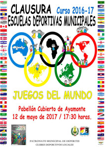 Cartel de la jornada de clausura del curso de las Escuelas Deportivas Municipales en Ayamonte.