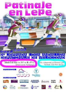 Cartel de la prueba de patinaje de velocidad que se celebrará en Lepe este fin de semana.