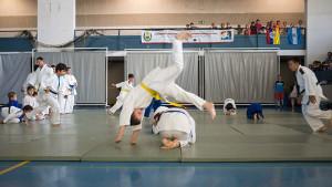 Un momento de la exhibición del  Judo Club Ayamonte en la ceremonia de clausura.